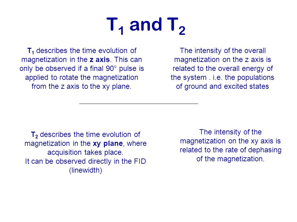 T 1 and T 2 T 2 describes the time evolution of magnetization in the xy plane, where acquisition takes place. It can be observed directly in the FID (