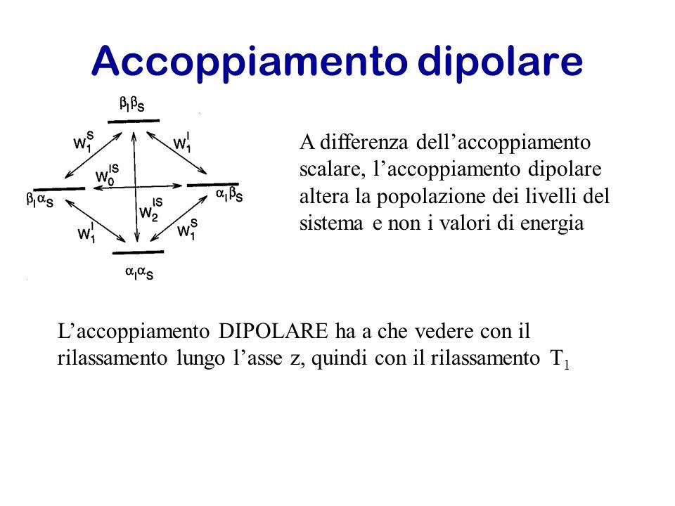Accoppiamento dipolare A differenza dellaccoppiamento scalare, laccoppiamento dipolare altera la popolazione dei livelli del sistema e non i valori di