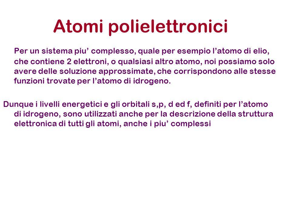Atomi polielettronici Per un sistema piu complesso, quale per esempio latomo di elio, che contiene 2 elettroni, o qualsiasi altro atomo, noi possiamo