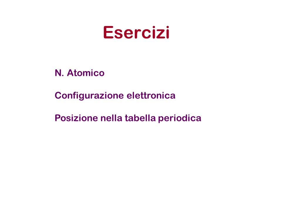 Esercizi N. Atomico Configurazione elettronica Posizione nella tabella periodica