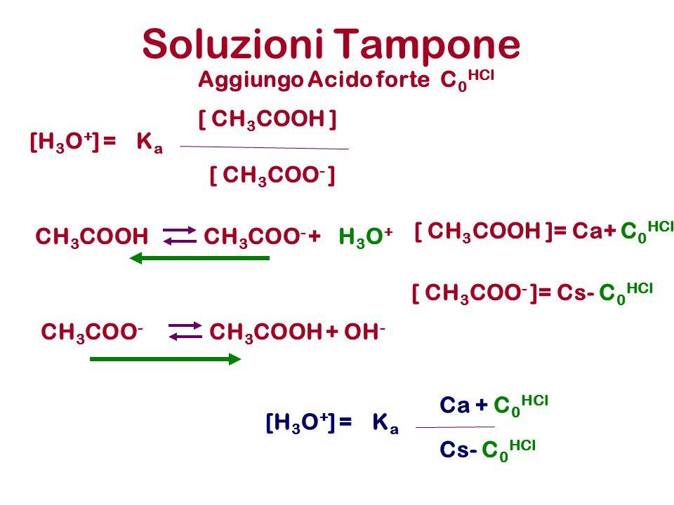 Soluzioni Tampone CH 3 COOHCH 3 COO - +H3O+H3O+ KaKa [ CH 3 COO - ] [H 3 O + ] = [ CH 3 COOH ] CH 3 COO - CH 3 COOH +OH - KaKa Ca + C 0 HCl [H 3 O + ]