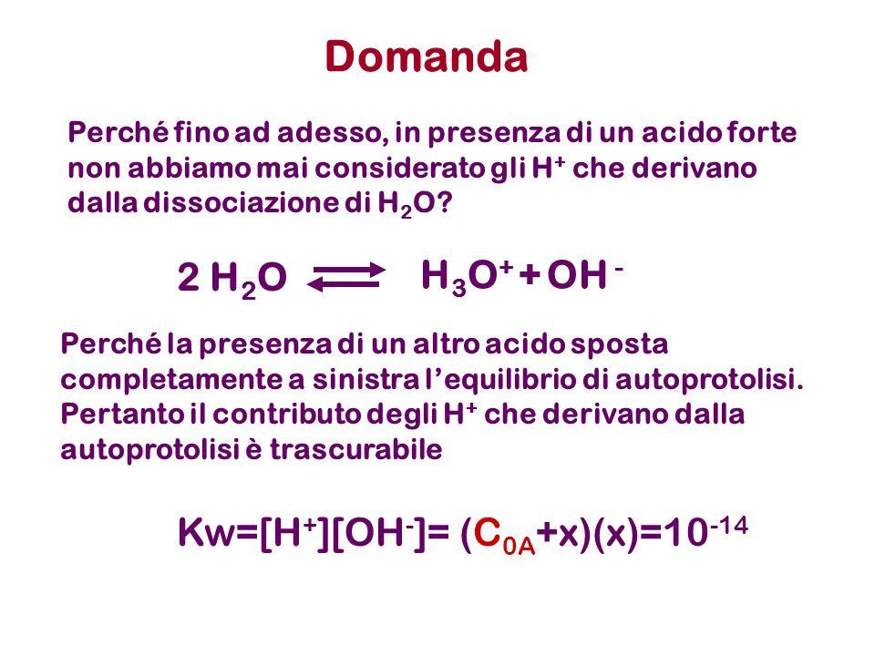 Domanda Perché fino ad adesso, in presenza di un acido forte non abbiamo mai considerato gli H + che derivano dalla dissociazione di H 2 O? Perché la