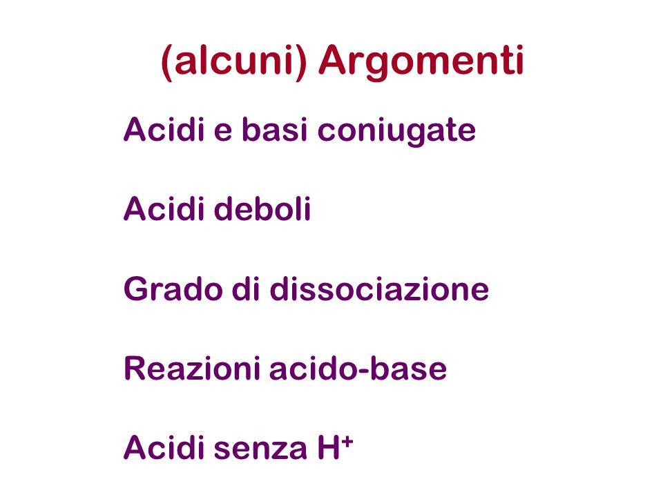 (alcuni) Argomenti Acidi e basi coniugate Acidi deboli Grado di dissociazione Reazioni acido-base Acidi senza H +