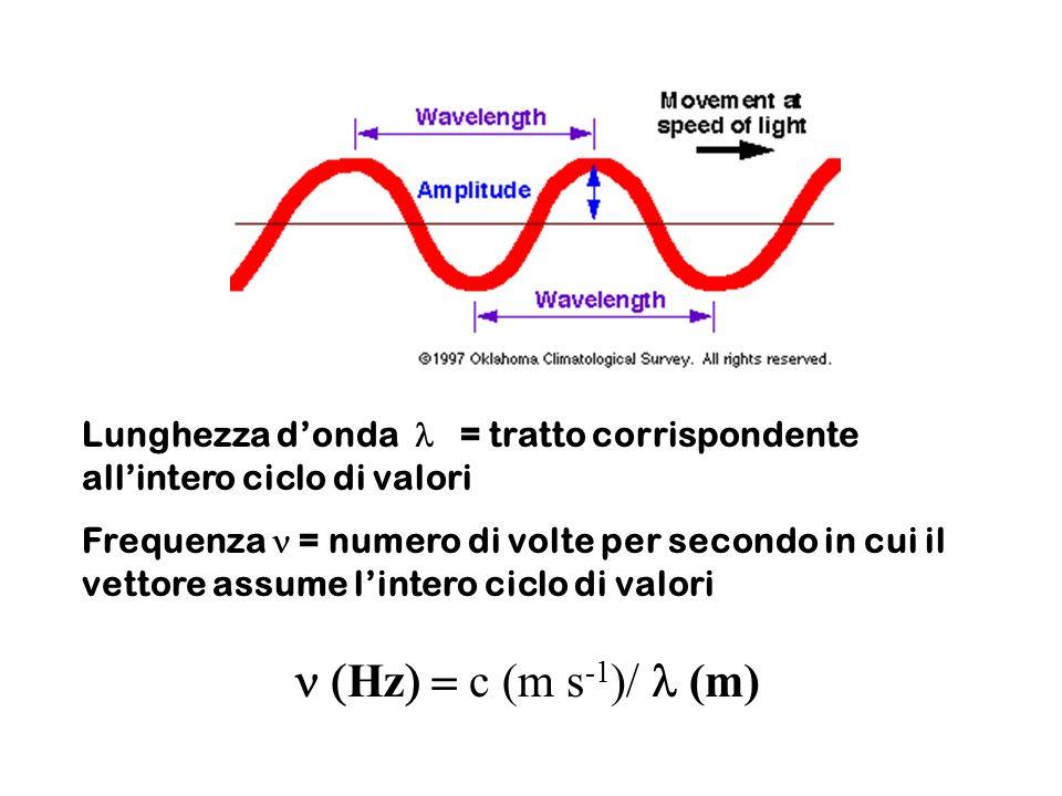 Lunghezza donda = tratto corrispondente allintero ciclo di valori Frequenza = numero di volte per secondo in cui il vettore assume lintero ciclo di va