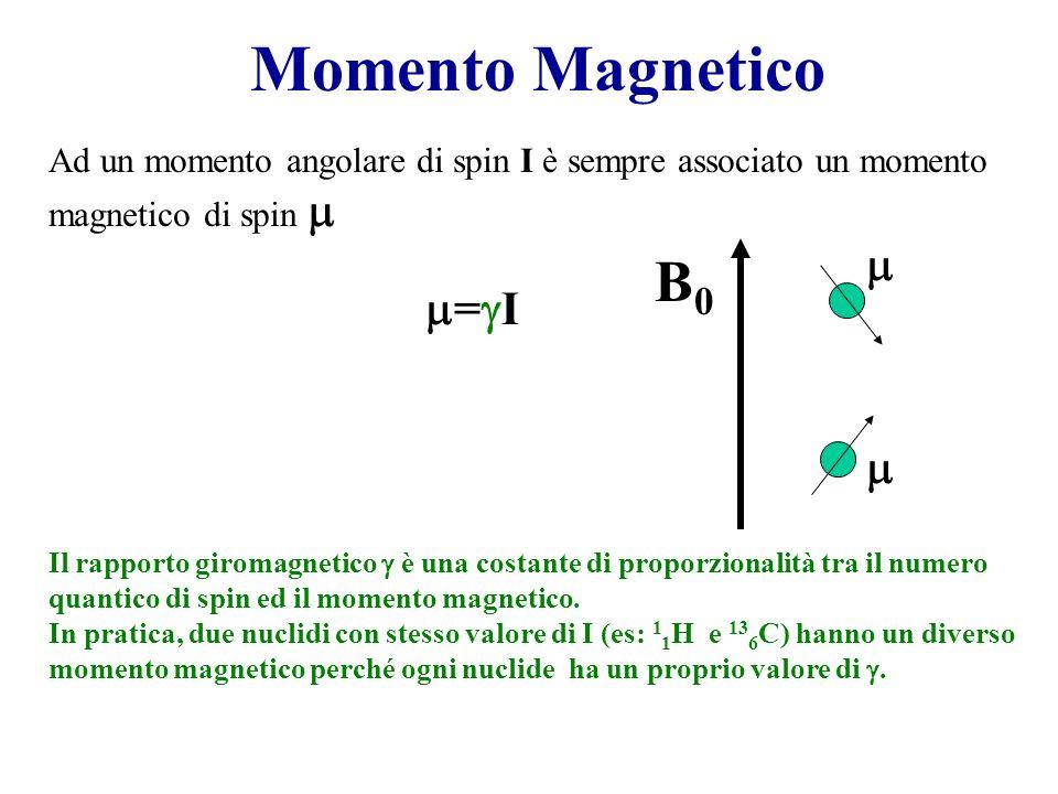Momento Magnetico = I Ad un momento angolare di spin I è sempre associato un momento magnetico di spin Il rapporto giromagnetico è una costante di pro
