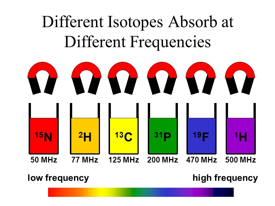 Different Isotopes Absorb at Different Frequencies low frequencyhigh frequency 15 N 2H2H 13 C 19 F 1H1H 50 MHz 77 MHz 125 MHz 200 MHz 470 MHz 500 MHz