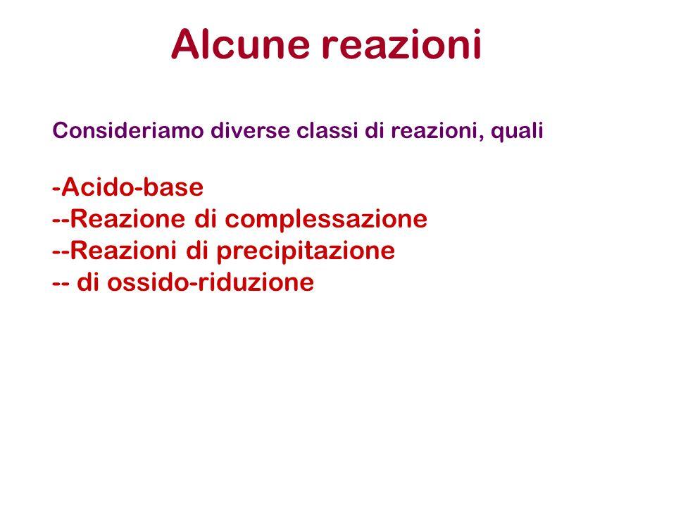 Alcune reazioni Consideriamo diverse classi di reazioni, quali -Acido-base --Reazione di complessazione --Reazioni di precipitazione -- di ossido-ridu