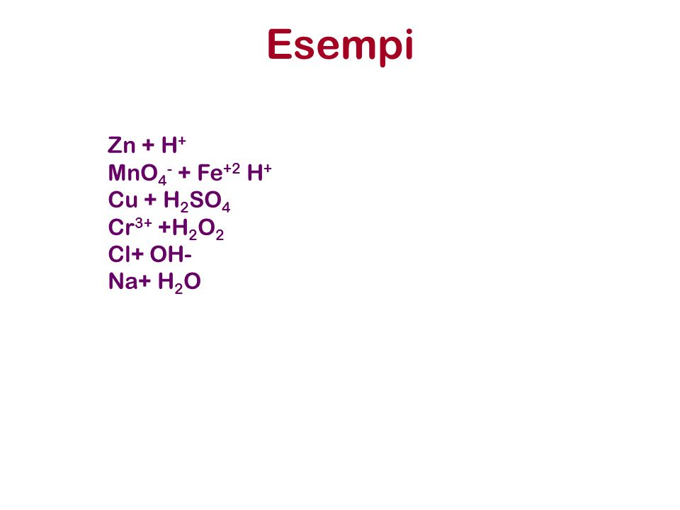 Esempi Zn + H + MnO 4 - + Fe +2 H + Cu + H 2 SO 4 Cr 3+ +H 2 O 2 Cl+ OH- Na+ H 2 O