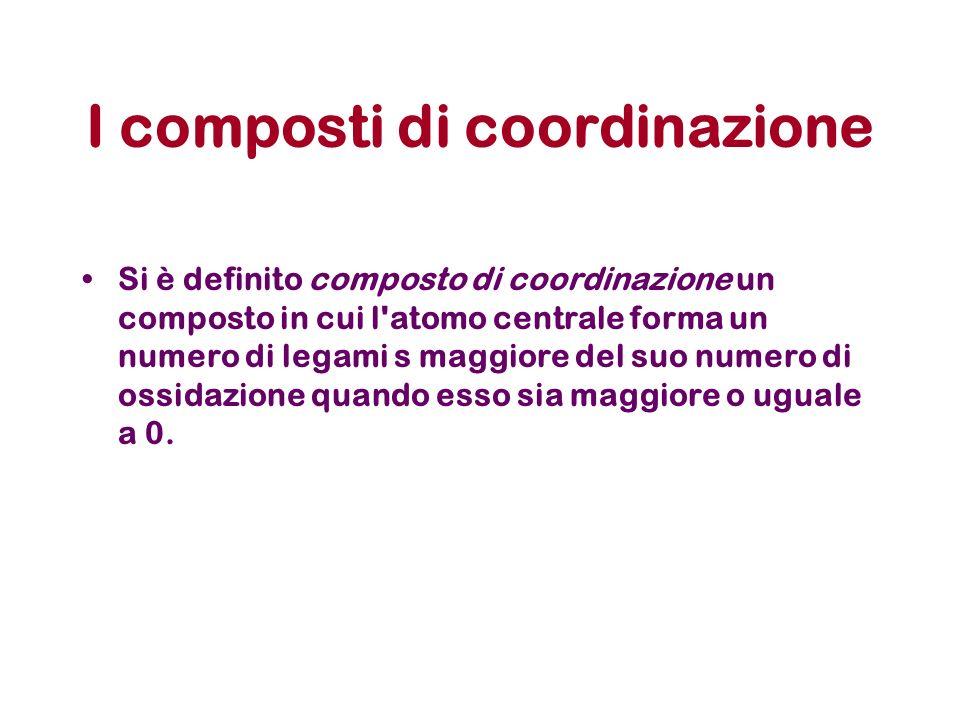 I composti di coordinazione Si è definito composto di coordinazione un composto in cui l atomo centrale forma un numero di legami s maggiore del suo numero di ossidazione quando esso sia maggiore o uguale a 0.