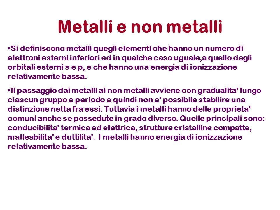 Metalli e non metalli Si definiscono metalli quegli elementi che hanno un numero di elettroni esterni inferiori ed in qualche caso uguale,a quello degli orbitali esterni s e p, e che hanno una energia di ionizzazione relativamente bassa.