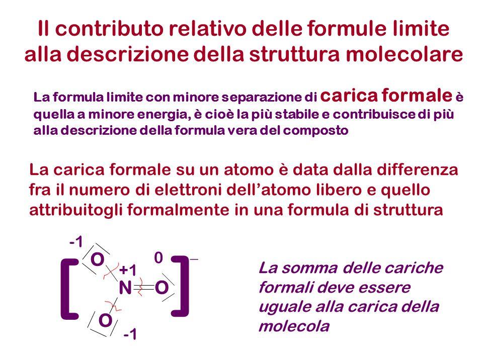 Il contributo relativo delle formule limite alla descrizione della struttura molecolare La formula limite con minore separazione di carica formale è quella a minore energia, è cioè la più stabile e contribuisce di più alla descrizione della formula vera del composto NO O O ] ] _ 0 +1 La carica formale su un atomo è data dalla differenza fra il numero di elettroni dellatomo libero e quello attribuitogli formalmente in una formula di struttura La somma delle cariche formali deve essere uguale alla carica della molecola