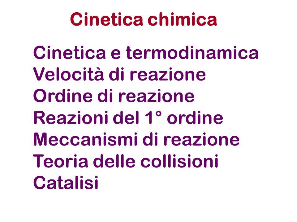 Cinetica chimica Cinetica e termodinamica Velocità di reazione Ordine di reazione Reazioni del 1° ordine Meccanismi di reazione Teoria delle collision
