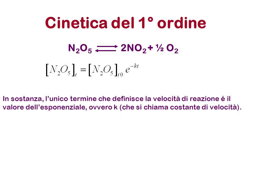 Cinetica del 1° ordine N2O5N2O5 2NO 2 + ½ O 2 In sostanza, lunico termine che definisce la velocità di reazione é il valore dellesponenziale, ovvero k