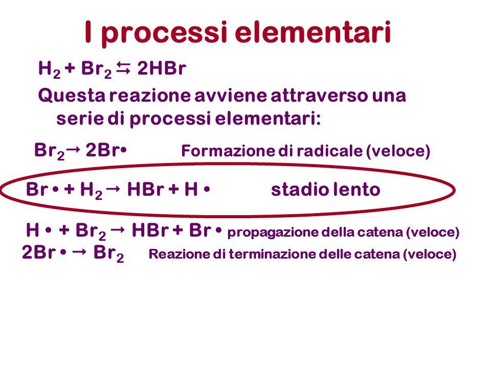 I processi elementari H 2 + Br 2 2HBr Questa reazione avviene attraverso una serie di processi elementari: Br 2 2Br Formazione di radicale (veloce) Br