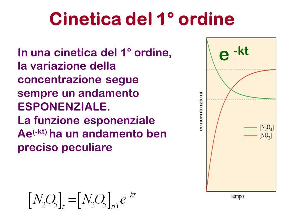 Cinetica del 1° ordine e -kt In una cinetica del 1° ordine, la variazione della concentrazione segue sempre un andamento ESPONENZIALE. La funzione esp