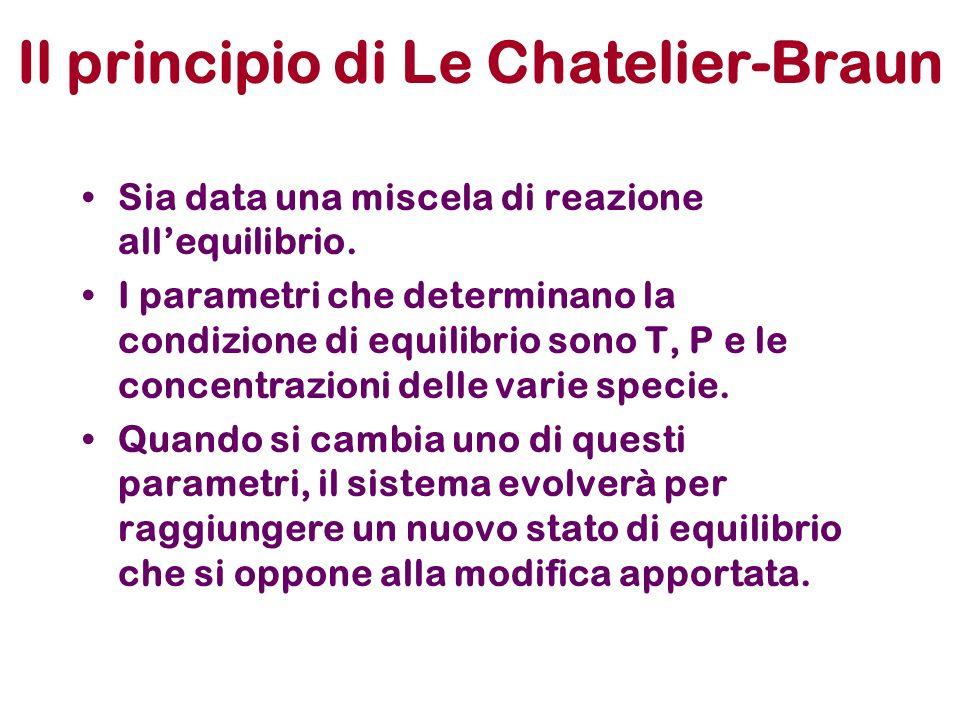Il principio di Le Chatelier-Braun Sia data una miscela di reazione allequilibrio. I parametri che determinano la condizione di equilibrio sono T, P e