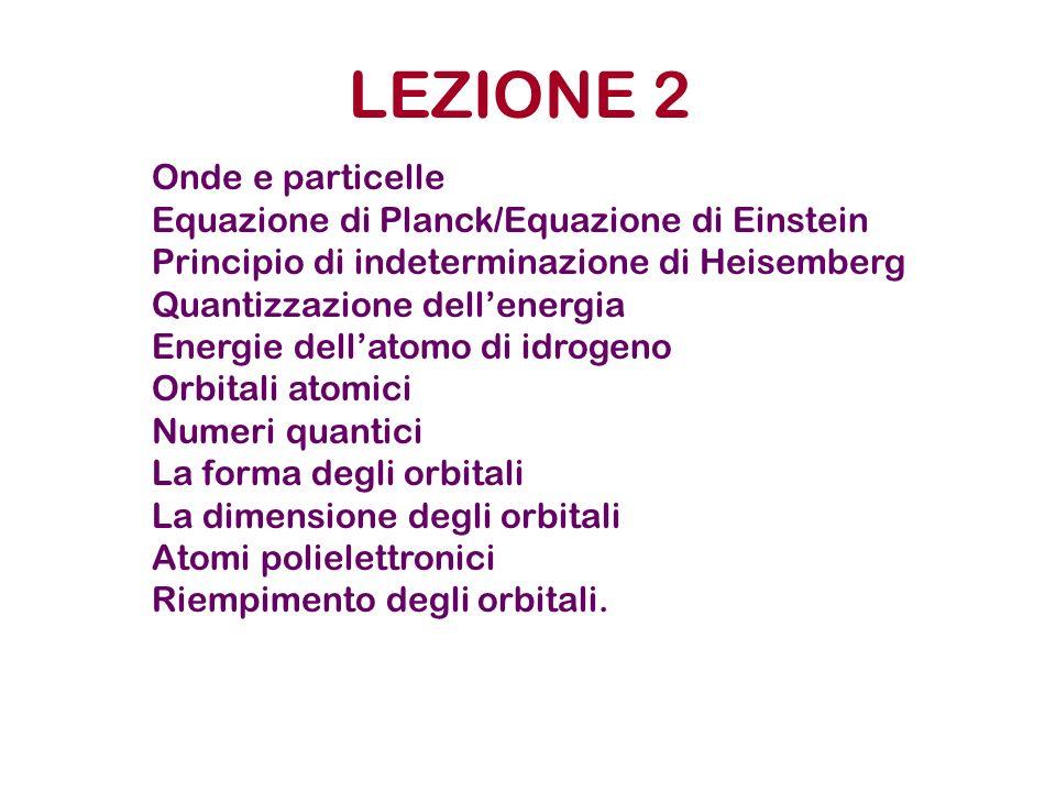 LEZIONE 2 Onde e particelle Equazione di Planck/Equazione di Einstein Principio di indeterminazione di Heisemberg Quantizzazione dellenergia Energie d