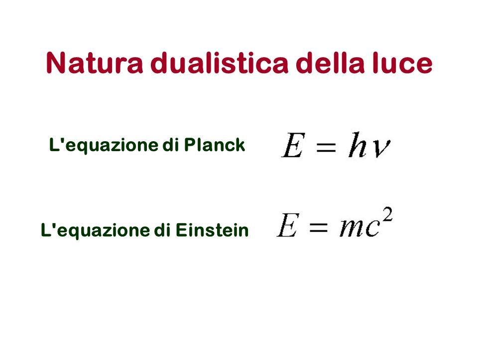 E = mc 2 = h = c / = h / mc Per i fotoni: Per un qualsiasi corpo in movimento: = h/mv v=velocità del corpo in movimento