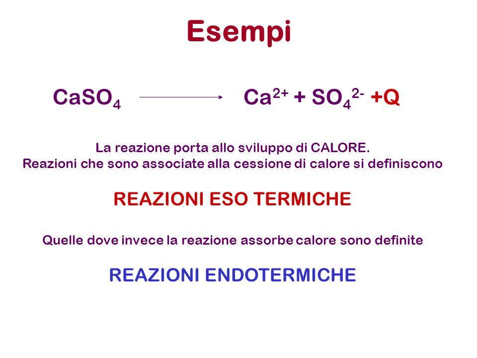 Esempi CaSO 4 Ca 2+ + SO 4 2- +Q La reazione porta allo sviluppo di CALORE. Reazioni che sono associate alla cessione di calore si definiscono REAZION