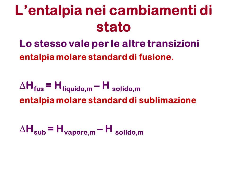 Lentalpia nei cambiamenti di stato Lo stesso vale per le altre transizioni entalpia molare standard di fusione. H fus = H liquido,m – H solido,m ental