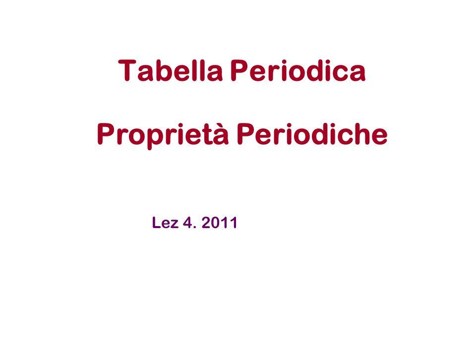 Tabella Periodica Proprietà Periodiche Lez 4. 2011