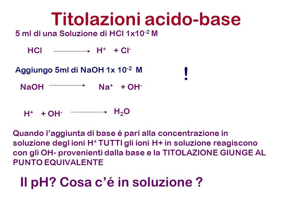 Titolazioni acido-base 5 ml di una Soluzione di HCl 1x10 -2 M Aggiungo 5ml di NaOH 1x 10 -2 M HCl H + + Cl - NaOH Na + + OH - H + + OH - H 2 O Quando