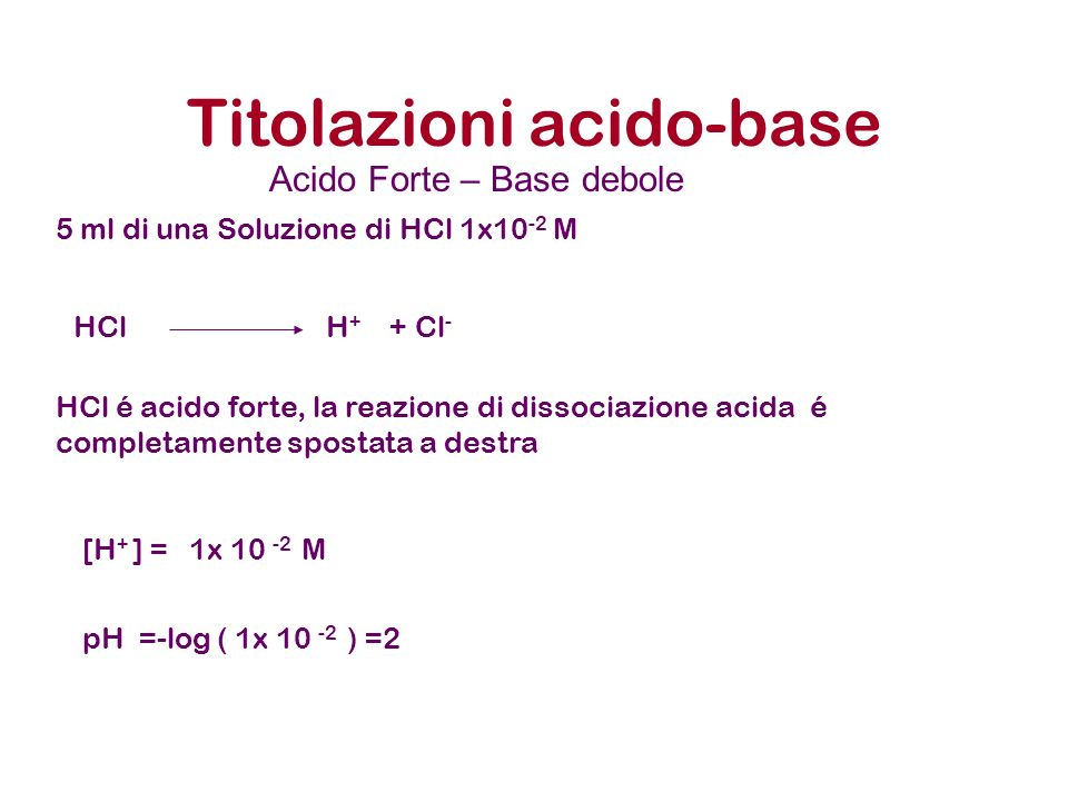 Titolazioni acido-base 5 ml di una Soluzione di HCl 1x10 -2 M HCl é acido forte, la reazione di dissociazione acida é completamente spostata a destra