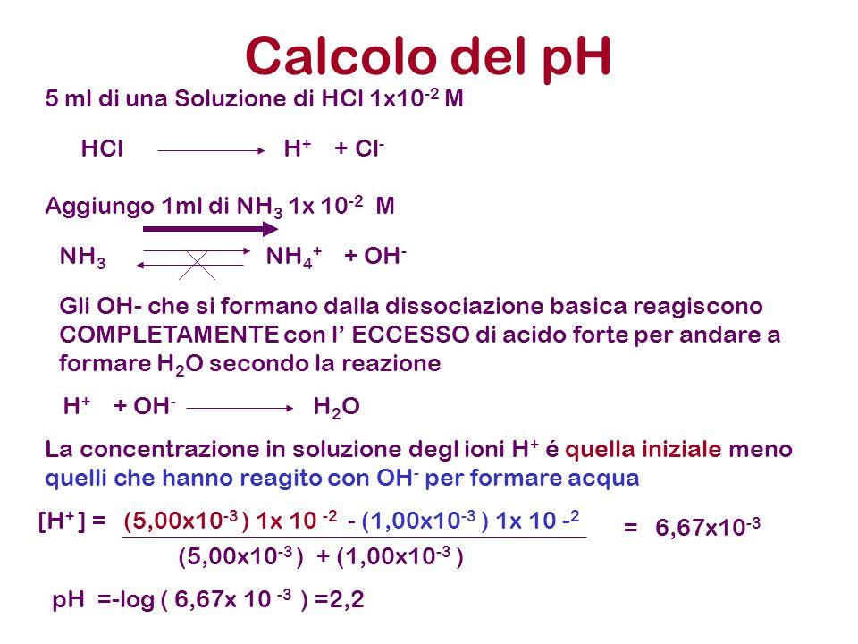 Calcolo del pH 5 ml di una Soluzione di HCl 1x10 -2 M Aggiungo 1ml di NH 3 1x 10 -2 M HCl H + + Cl - NH 3 NH 4 + + OH - Gli OH- che si formano dalla d