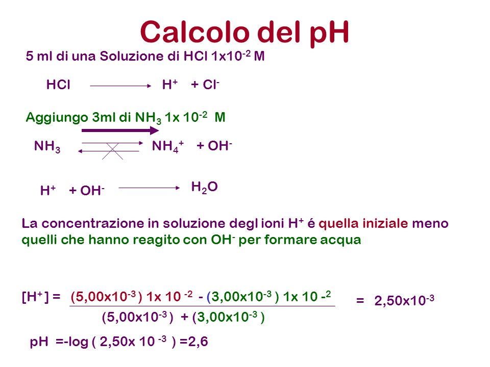 Calcolo del pH 5 ml di una Soluzione di HCl 1x10 -2 M Aggiungo 3ml di NH 3 1x 10 -2 M HCl H + + Cl - NH 3 NH 4 + + OH - H + + OH - H 2 O La concentraz