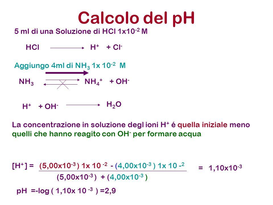 Calcolo del pH 5 ml di una Soluzione di HCl 1x10 -2 M Aggiungo 4ml di NH 3 1x 10 -2 M HCl H + + Cl - NH 3 NH 4 + + OH - H + + OH - H 2 O La concentraz