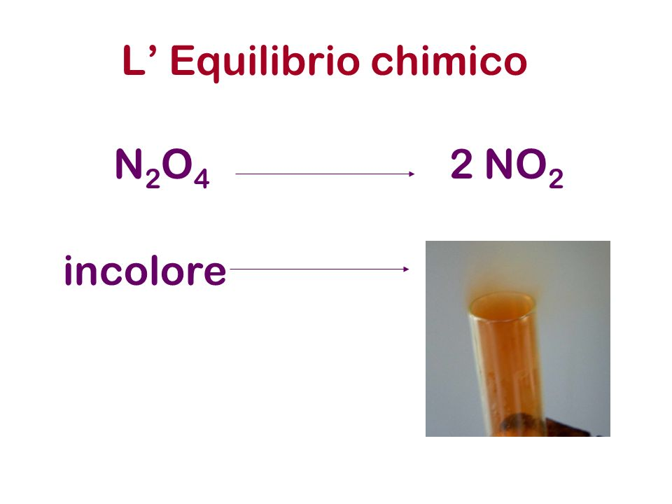 L Equilibrio chimico N2O4N2O4 2 NO 2 incolore