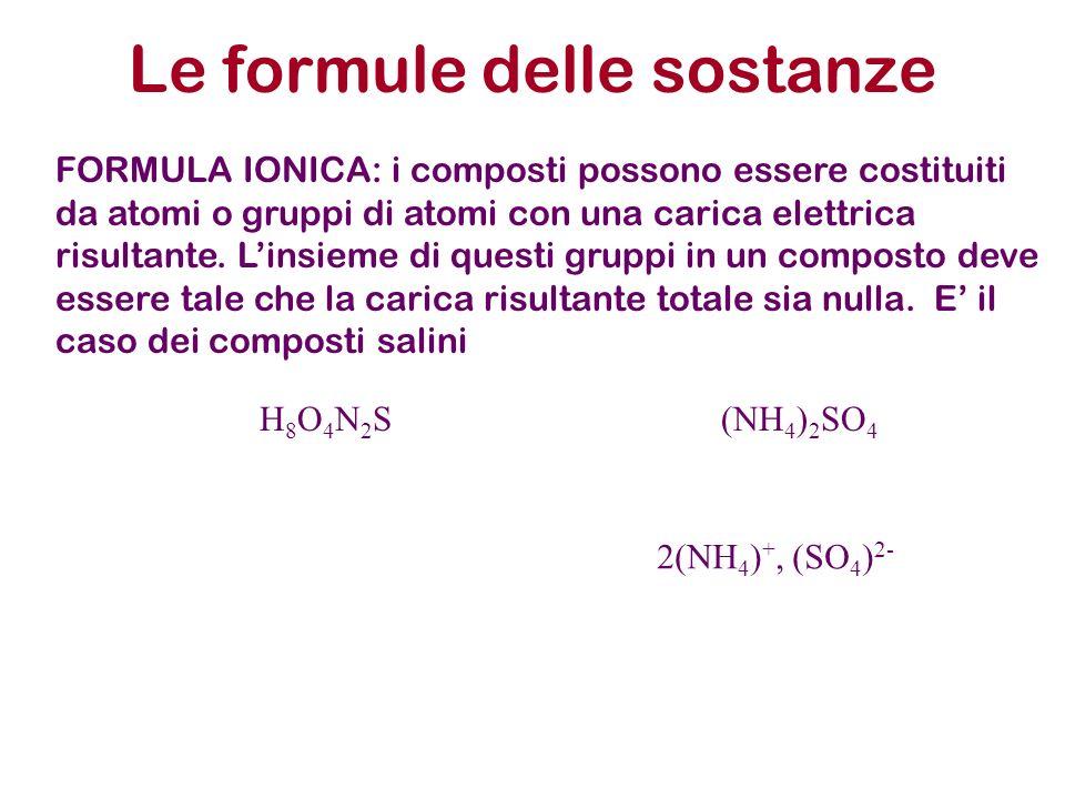 Le formule delle sostanze FORMULA IONICA: i composti possono essere costituiti da atomi o gruppi di atomi con una carica elettrica risultante. Linsiem