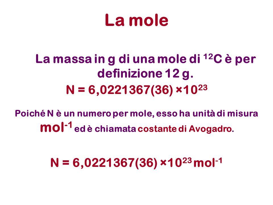 La massa in g di una mole di 12 C è per definizione 12 g. La mole N = 6,0221367(36) ×10 23 Poiché N è un numero per mole, esso ha unità di misura mol