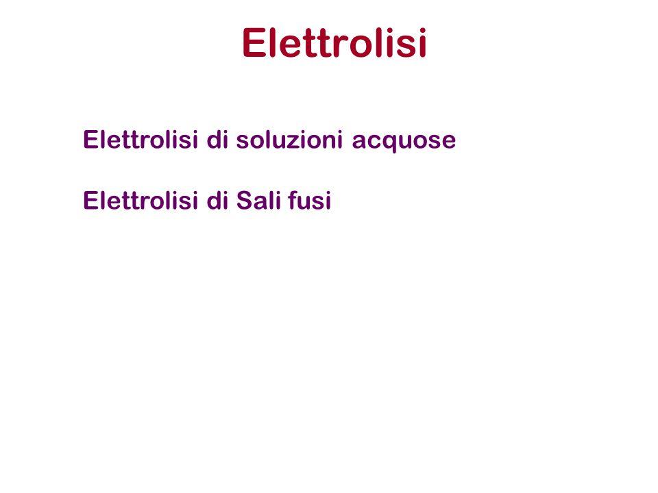Elettrolisi di soluzioni acquose Elettrolisi di Sali fusi