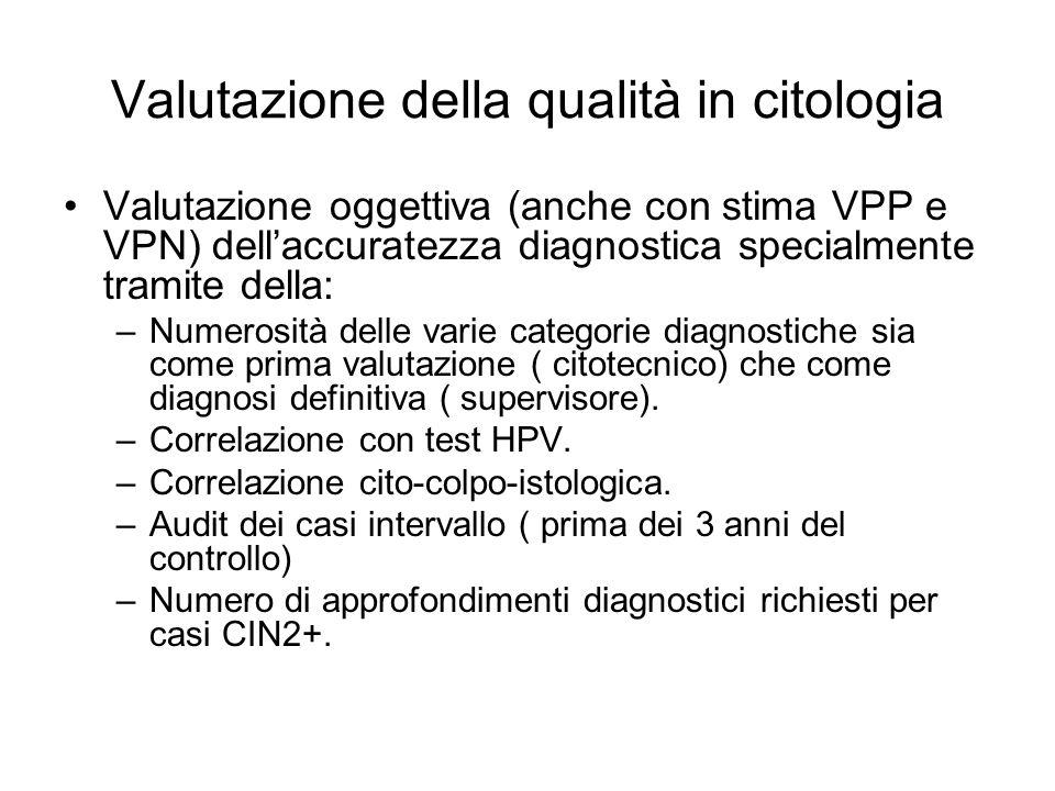 Valutazione della qualità in citologia Valutazione oggettiva (anche con stima VPP e VPN) dellaccuratezza diagnostica specialmente tramite della: –Nume