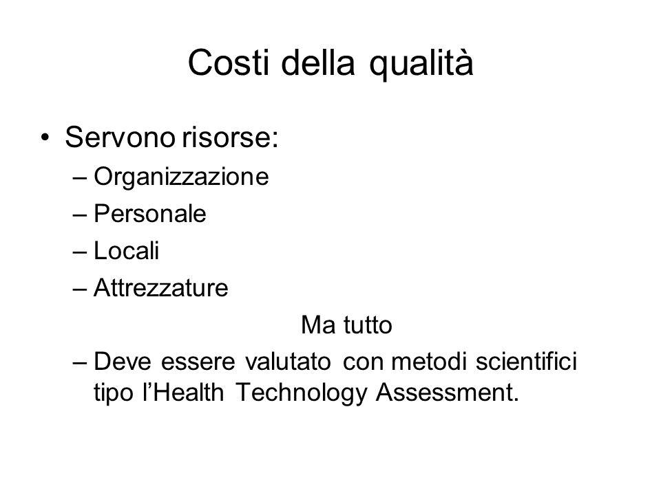 Costi della qualità Servono risorse: –Organizzazione –Personale –Locali –Attrezzature Ma tutto –Deve essere valutato con metodi scientifici tipo lHeal