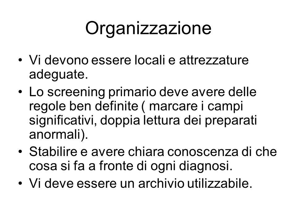 Organizzazione Vi devono essere locali e attrezzature adeguate. Lo screening primario deve avere delle regole ben definite ( marcare i campi significa