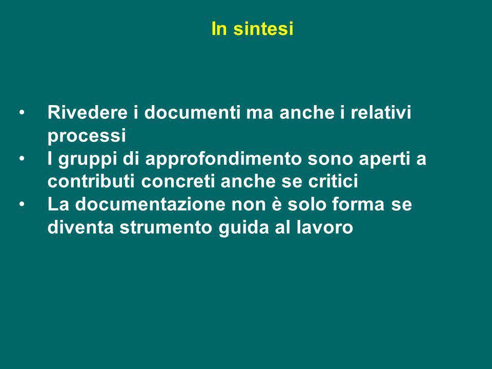 Rivedere i documenti ma anche i relativi processi I gruppi di approfondimento sono aperti a contributi concreti anche se critici La documentazione non
