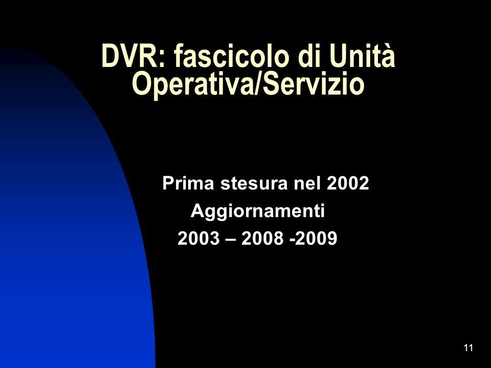 11 DVR: fascicolo di Unità Operativa/Servizio Prima stesura nel 2002 Aggiornamenti 2003 – 2008 -2009