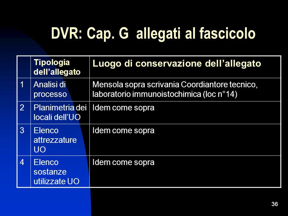 36 DVR: Cap. G allegati al fascicolo Tipologia dellallegato Luogo di conservazione dellallegato 1Analisi di processo Mensola sopra scrivania Coordiant