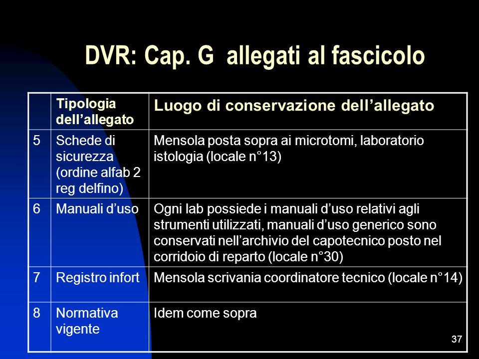 37 DVR: Cap. G allegati al fascicolo Tipologia dellallegato Luogo di conservazione dellallegato 5Schede di sicurezza (ordine alfab 2 reg delfino) Mens