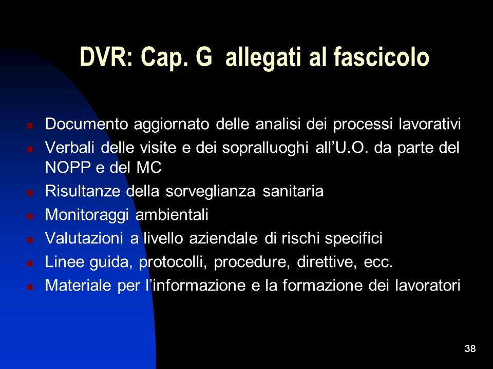 38 DVR: Cap. G allegati al fascicolo Documento aggiornato delle analisi dei processi lavorativi Verbali delle visite e dei sopralluoghi allU.O. da par