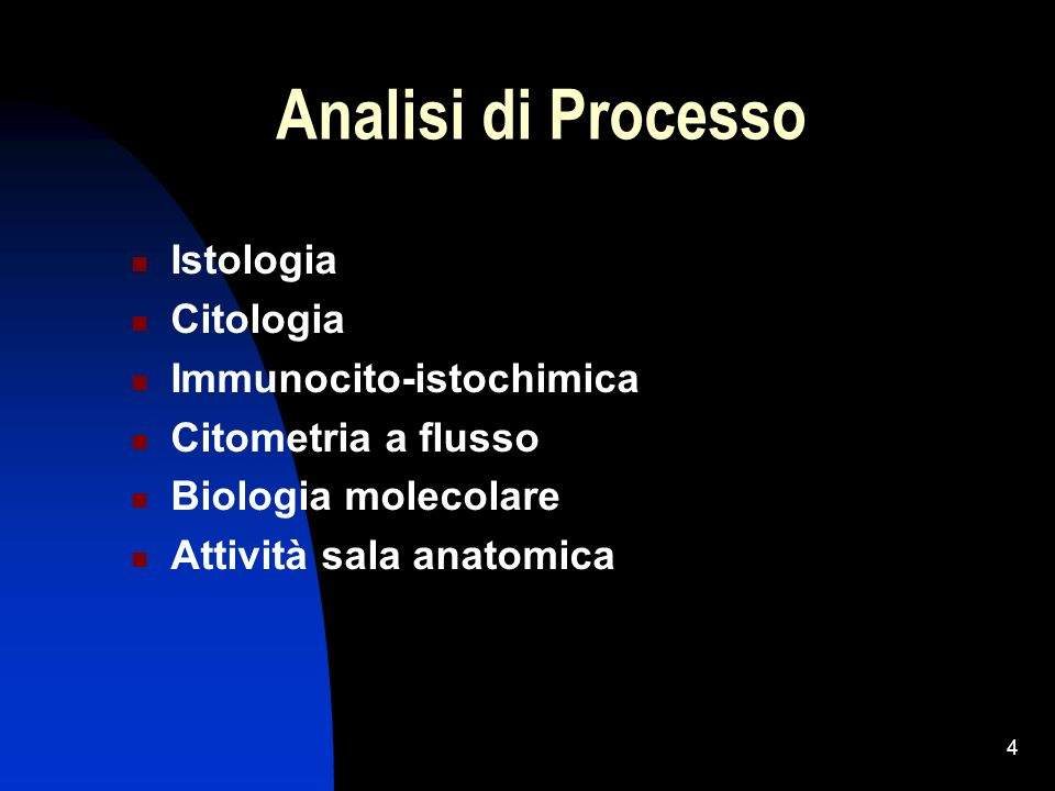 4 Analisi di Processo Istologia Citologia Immunocito-istochimica Citometria a flusso Biologia molecolare Attività sala anatomica