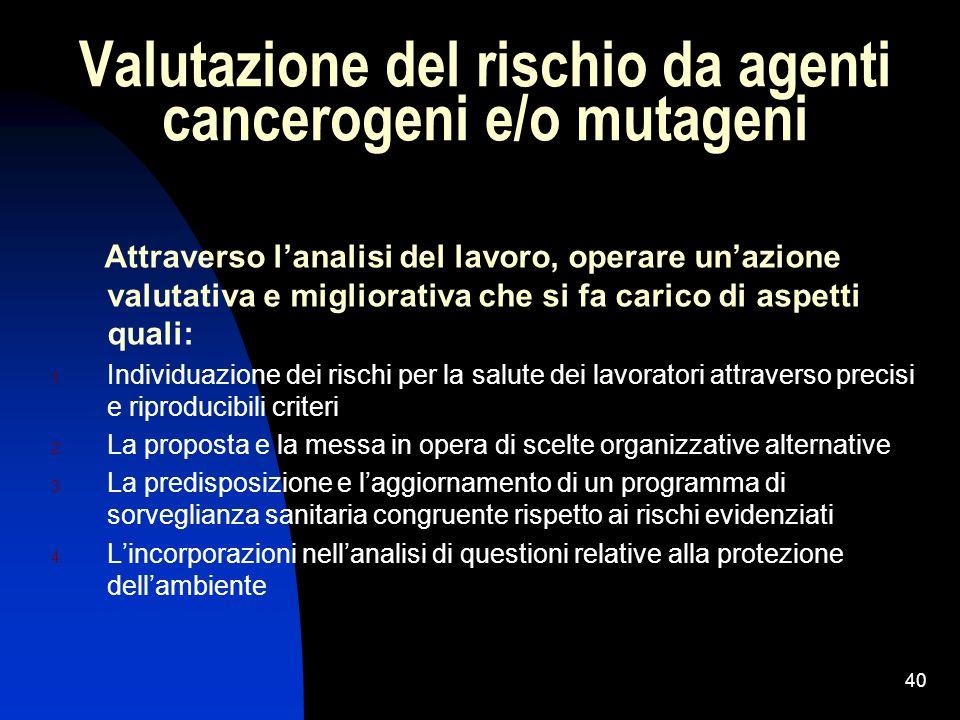 40 Valutazione del rischio da agenti cancerogeni e/o mutageni Attraverso lanalisi del lavoro, operare unazione valutativa e migliorativa che si fa car