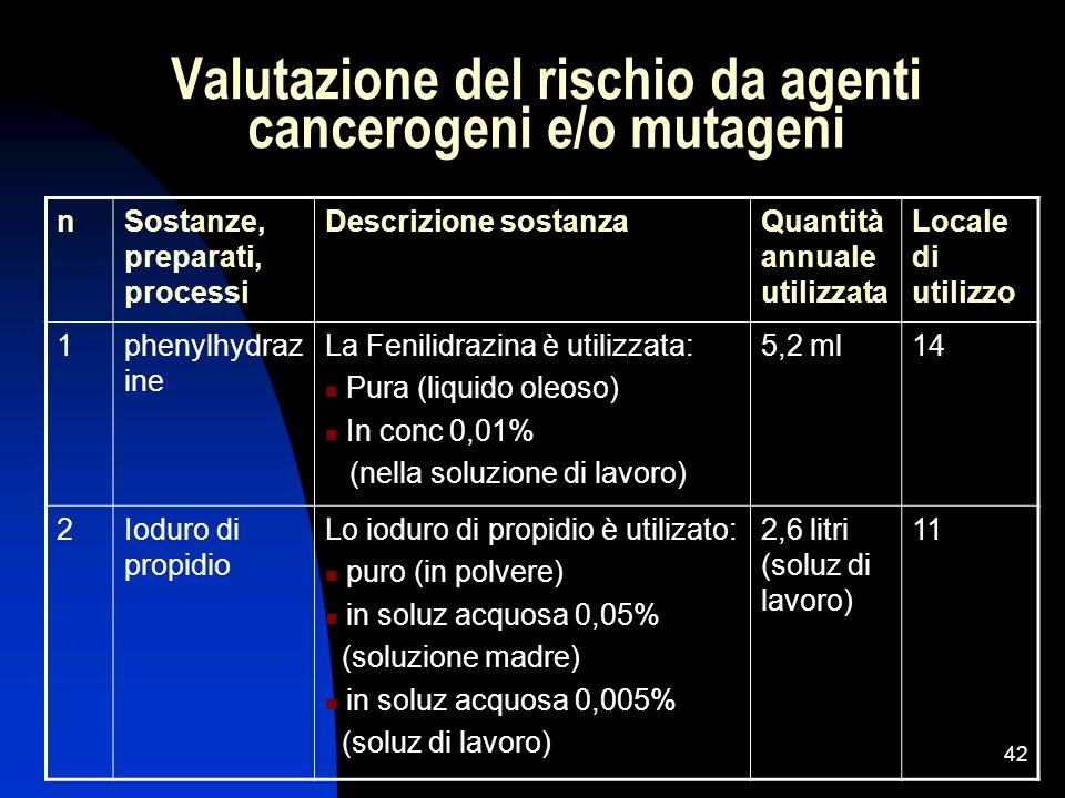 42 Valutazione del rischio da agenti cancerogeni e/o mutageni nSostanze, preparati, processi Descrizione sostanzaQuantità annuale utilizzata Locale di
