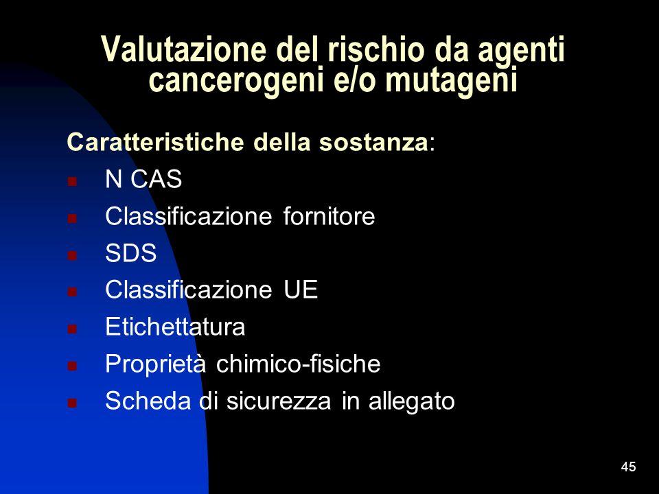45 Valutazione del rischio da agenti cancerogeni e/o mutageni Caratteristiche della sostanza: N CAS Classificazione fornitore SDS Classificazione UE E