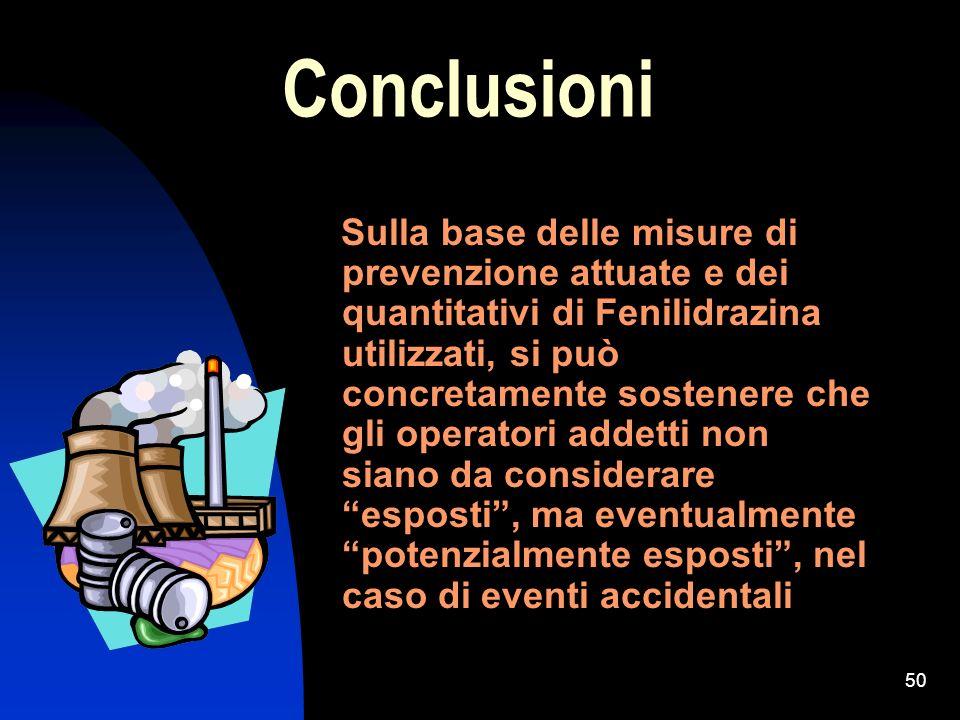 50 Conclusioni Sulla base delle misure di prevenzione attuate e dei quantitativi di Fenilidrazina utilizzati, si può concretamente sostenere che gli o