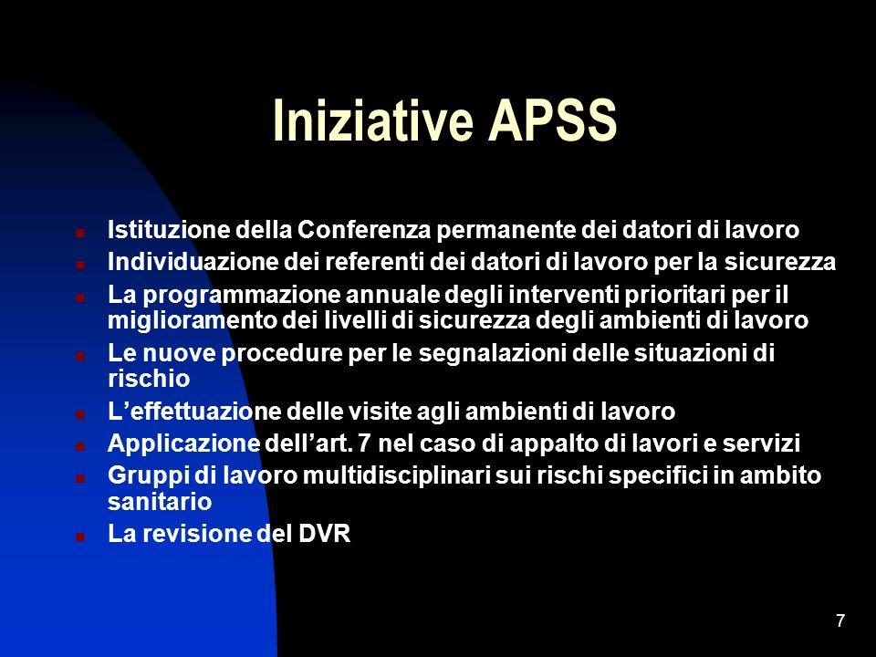 7 Iniziative APSS Istituzione della Conferenza permanente dei datori di lavoro Individuazione dei referenti dei datori di lavoro per la sicurezza La p