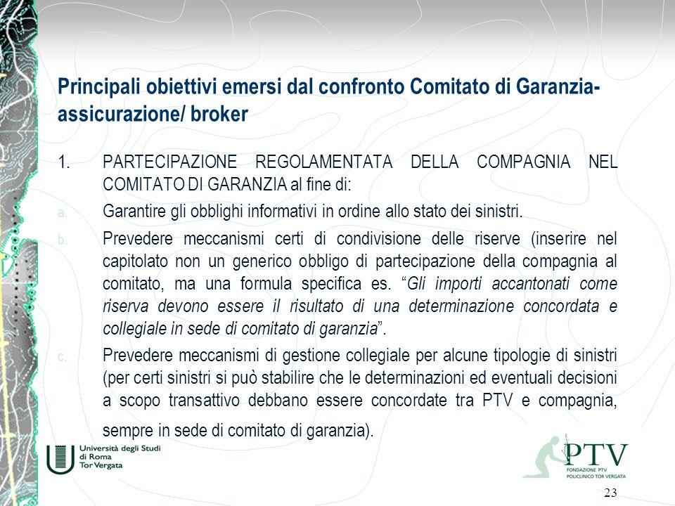 23 Principali obiettivi emersi dal confronto Comitato di Garanzia- assicurazione/ broker 1.PARTECIPAZIONE REGOLAMENTATA DELLA COMPAGNIA NEL COMITATO DI GARANZIA al fine di: a.