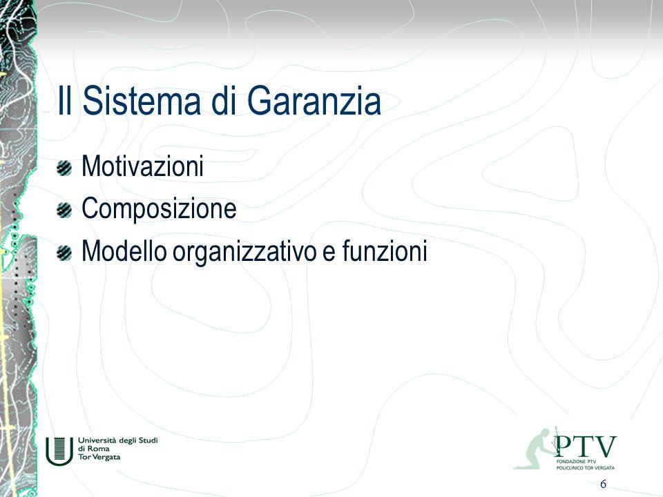 6 Il Sistema di Garanzia Motivazioni Composizione Modello organizzativo e funzioni